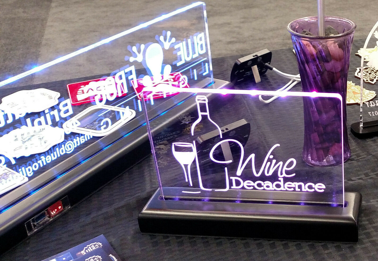Rechargeable Battery operated LED Name Plate, Custom Sign - Award - Trophy