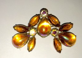 Vintage Glass Cabochon Jelly & AB Crystal Brooch/Pin - Unmarked - $11.89