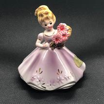 Josef Originals Figurine 1960s Girl Of Month Calendar Japan July Ruby Flower Gem - $34.65