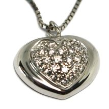 18K WHITE GOLD NECKLACE WITH DIAMONDS ROUNDED HEART PENDANT, VENETIAN CHAIN image 4