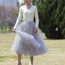 Sage Green Puffy Tulle Skirt Outfit High Waisted Midi Tulle Skirt Holiday Outfit image 7