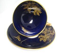 Vintage Tea Cup and Saucer in Cobalt Blue Hutschenreuther Demitasse - $29.00