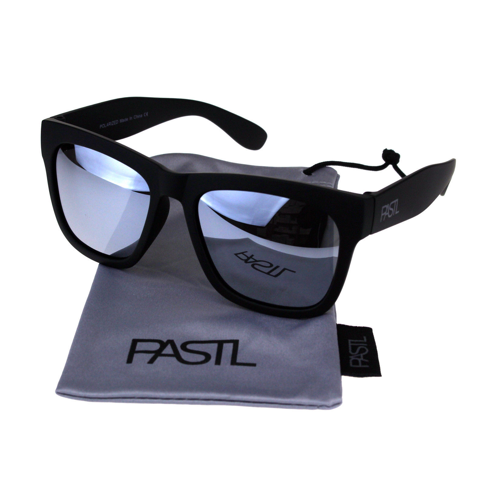 PASTL Sunglasses Polarized Lens Soft Matted Black Square Frame Unisex