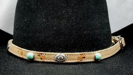 Southwest HATBAND Beige+Tan LEATHER w Silver+Turquoise CONCHOS + Buckle ... - €24,03 EUR