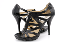 Michael Kors Womens 9M Black Leather Open Toe Front Zip Strappy Heels - $29.99