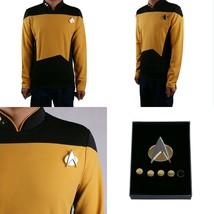 Star Trek TNG Cosplay Gold Costume Shirt Starfleet Commander Uniforms +B... - $33.49+