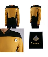 Star Trek TNG Cosplay Gold Costume Shirt Starfleet Commander Uniforms +B... - £26.31 GBP+