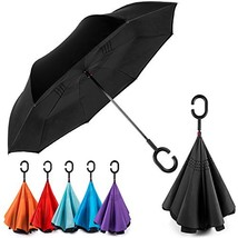 EEZ-Y Reverse Inverted Windproof Umbrella - Upside Down Umbrellas with C... - $31.05