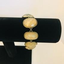 Vintage Avon SH Bronze Tone Faceted Stone Link Bracelet J0725 image 2