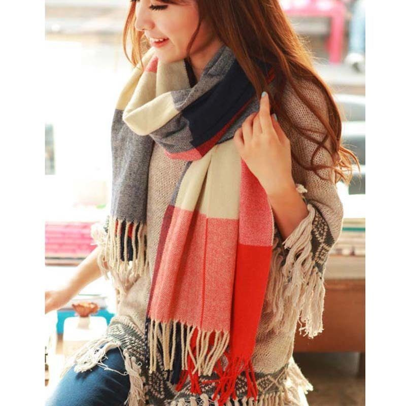 Primary image for UNIQU® Classic Autumn Winter Women Cashmere Plaid Scarf Female Soft Wool