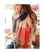 UNIQU® Classic Autumn Winter Women Cashmere Plaid Scarf Female Soft Wool - £9.11 GBP+