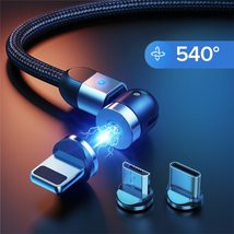 GTWIN 3A 540 Magnetic USB Cable For IPhone 12 Pro Max Mini Xiaomi Samsun... - $7.99