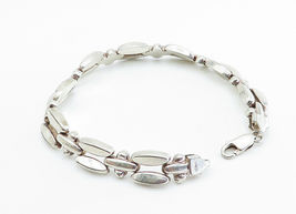 925 Sterling Silver - Vintage Shiny Smooth Two Row Link Chain Bracelet - B6003 image 3