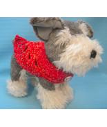 Pet Collar Scarf Dog Cat Red Variegated/Blue/Tan Tiny Handmade Crochet b... - $14.00