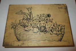 "Noah's Ark Rubber Stamp Giraffes Moose Hippo Elephants Large Comotion 5.5"" Long  - $11.87"