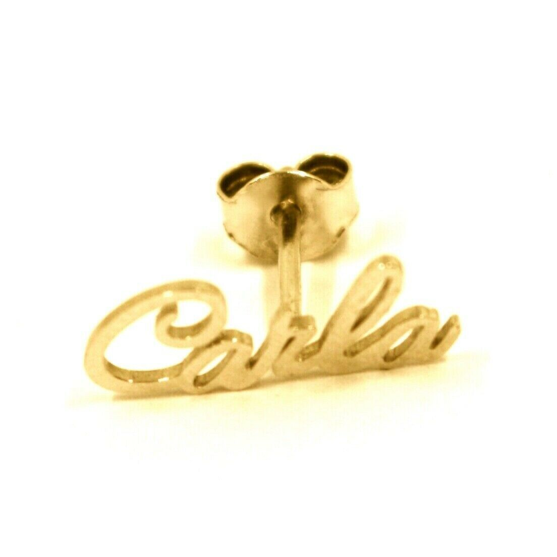 925 STERLING SILVER YELLOW EARRINGS, WRITTEN NAME CARLA, MADE IN ITALY