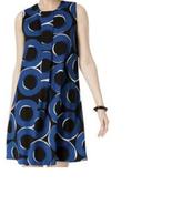 $89.5, Alfani Pleat-Front A-Line Dress Teal Chic Circles 18 - $44.54