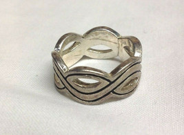 Silver RIng Swirled Woven Strands Band Size 7 - $6.88