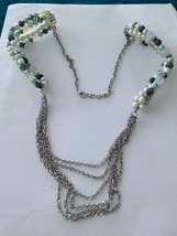 """chains & green & pearl tone necklace multicolored beaded 35"""" - $24.99"""