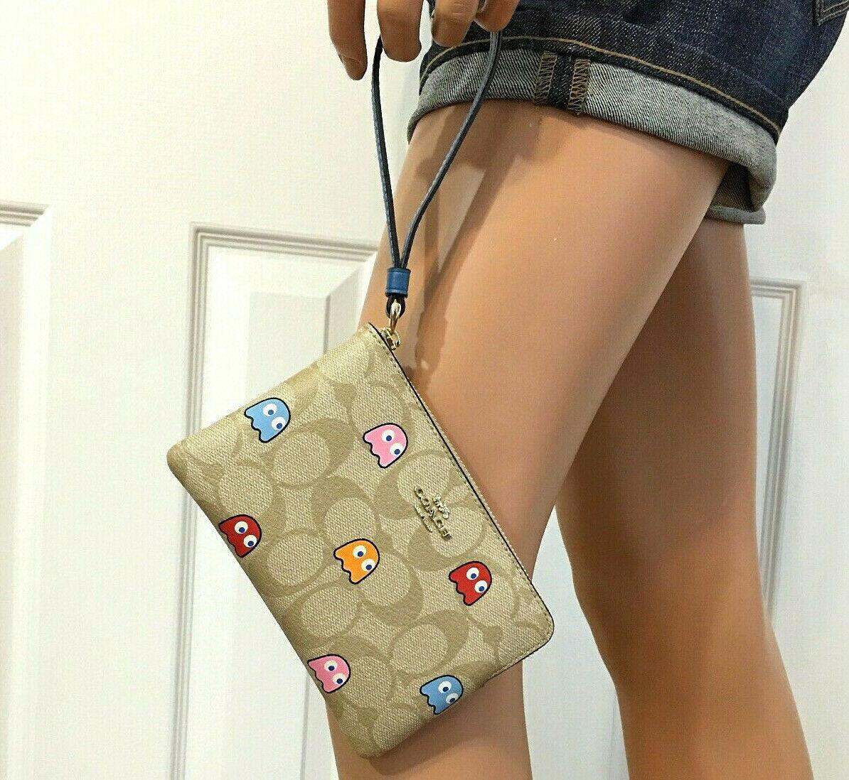COACH PacMan Wristlet Bag Ghosts Corner Zip F72287 NWT image 2