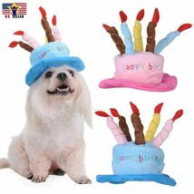Hat Cap Cake Candles Pet Birthday Costume Cosplay Puppy Dog Cat Christma... - $8.35