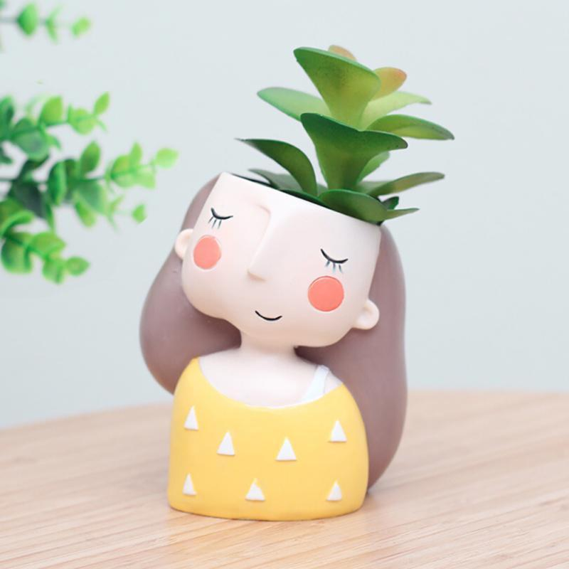 Flower Pot Cute Girl Design Flowerpot Planter Succulent Plant Resin Pots Decor