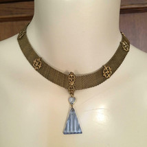 OOAK Vintage Baby Blue Crystal Gold Mesh Pendant Necklace - $68.00