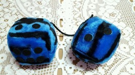 Blue and Black Stuffed Hanging Dice Mirror Wall Deciration Soft Fuzzy To... - $5.52