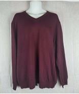 Club Room Mens Sweater Sz XXL Merino Wool Burgundy V-Neck Long Sleeve Pu... - $29.00