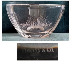 "Tiffany & Co. Signed Crystal Bowl Etched Skyline ""Dubai or Thailand"" - $125.00"