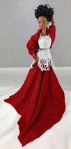 Altered Black Barbie Doll Red Sparkly Gown & Shawl Spin Master Jointed Body - $24.18