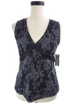 Black & Silver Metallic Floral Lace Blouse Top NEW Medium M - $24.00