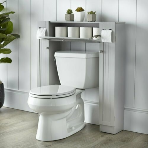 Gray Finish Over Toilet Space Saver Paper Caddy Bathroom Storage Cabinet Shelf