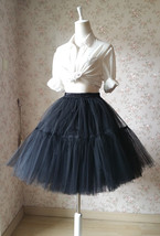 Lady MESH TULLE SKIRT Knee Length Layer Tulle Skirt Princess Skirt Crinolines  image 11