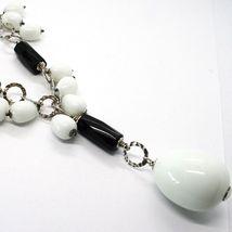 Halskette Silber 925, Onyx Schwarz, Achat Weiß Tropf , Wasserfall Anhänger image 4