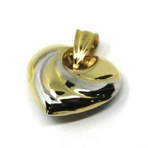 """18K YELLOW WHITE GOLD ROUNDED HEART PENDANT, SPIRAL, 1.4 CM, 0.55"""", TWO TONE image 1"""
