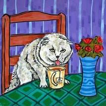 scottish fold cat coffee animal art tile coaster gift - $14.99
