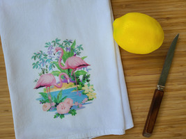 "Vintage Inspired Tropical Flamingo Cotton Flour Sack Tea Towel 15"" x 25"""