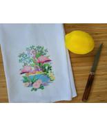 """Vintage Inspired Tropical Flamingo Cotton Flour Sack Tea Towel 15"""" x 25"""" - $10.99"""