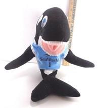 Sea World Shamu Killer Whale Plush Stuffed Animal Toy Doll Blue Jersey O... - $11.57