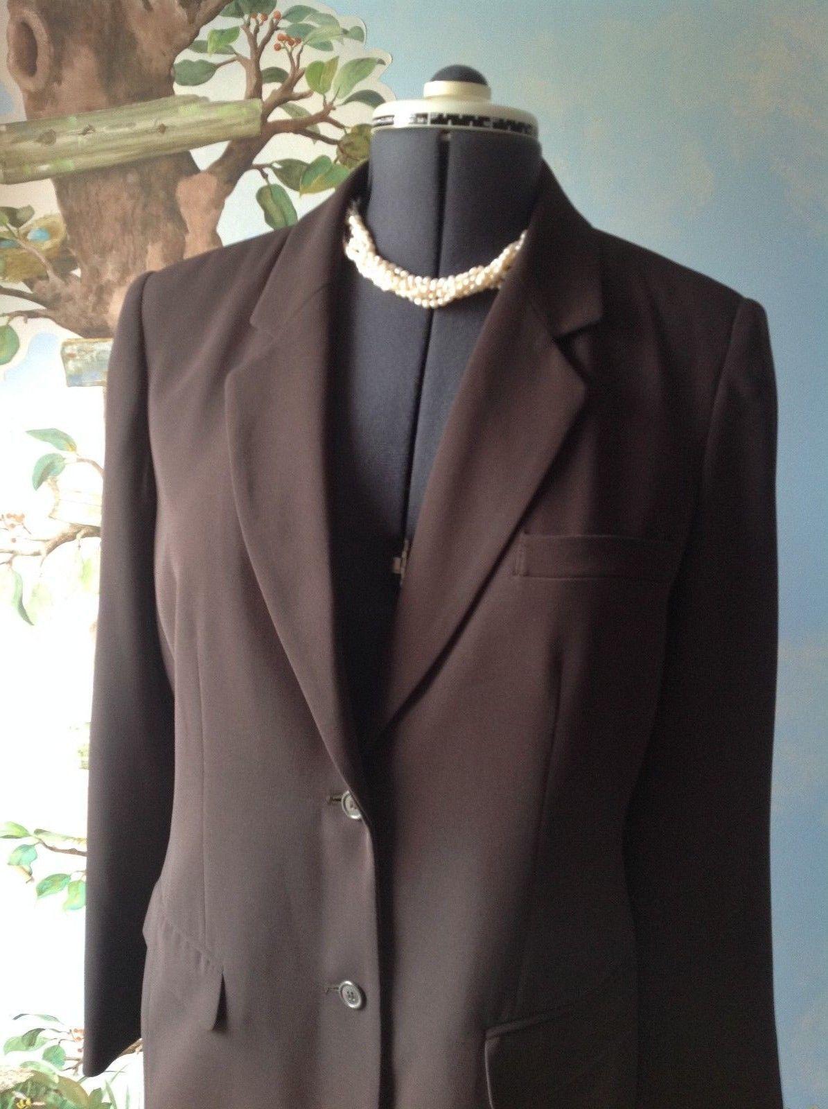 Laura Scott Petite Women's Brown Long Sleeve Suit Jacket Blazer Size 12P