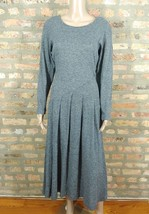 Vtg 70s Diane Von Furstenberg Gray Pleated Fit & Flare Midi Sweater Shir... - $48.62