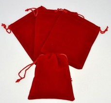 """12 Small RED GIFT Jewelry Drawstring Bags 2-1-/2"""" x 3"""" Flocked Velveteen... - $6.04"""