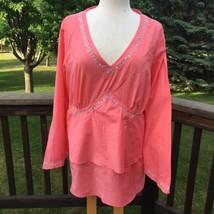 5efad599a1b Lane Bryant Tunic Shirt Womens 18 20 Tiered V-Neck Embellished 100% Cotton