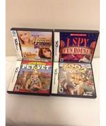 LOT OF 4 NINTENDO DS GAMES - Complete -Pet Vet, Zoo Tycoon 2, I Spy, Han... - $17.95