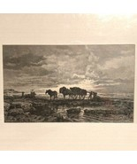 """Seagrass Harvest at St. Malo by Arthur Calame Restrike Etching 11""""x14"""" - $38.69"""