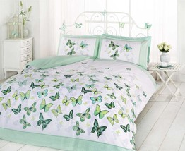 BUTTERFLY GREEN POLKA DOT COTTON BLEND KING SIZE 6 PIECE BEDDING SET - $67.84