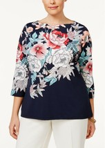 CHARTER CLUB 3/4 Sleeve Floral Printed Boatneck Knit Top NWT XXL - $14.41