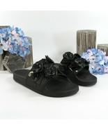 Tory Burch Black Floral Blossom Pool Slide Sandals Sz 6 - $177.71