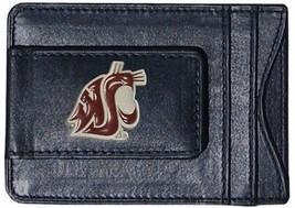washington state cougars logo ncaa college emblem leather cash cardholder - $27.07
